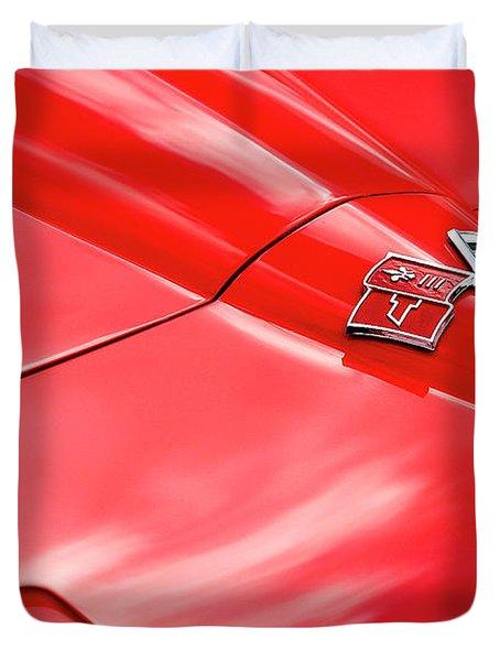 Red Corvette Hood Duvet Cover