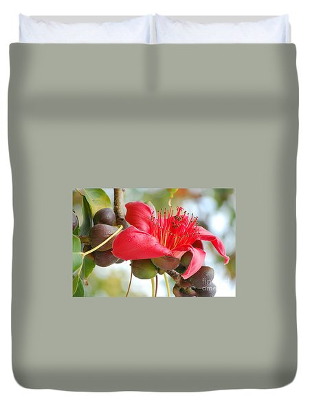 Red Cotton Tree 2 Duvet Cover