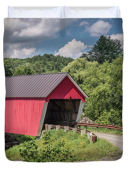 Red Covered Bridge Duvet Cover