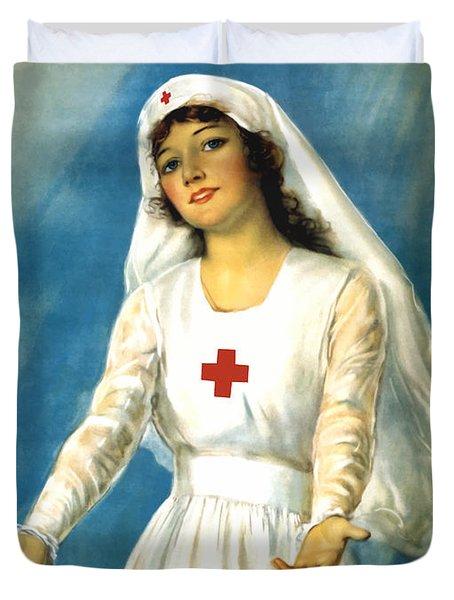 Red Cross Nurse - Ww1 Duvet Cover