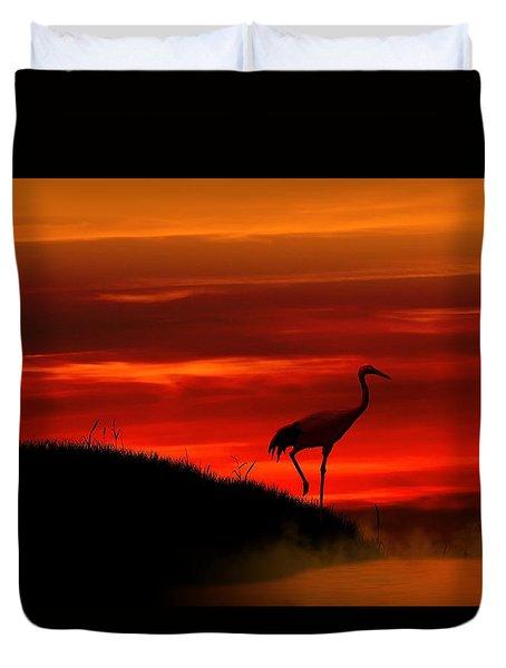 Red Crowned Crane At Dusk Duvet Cover