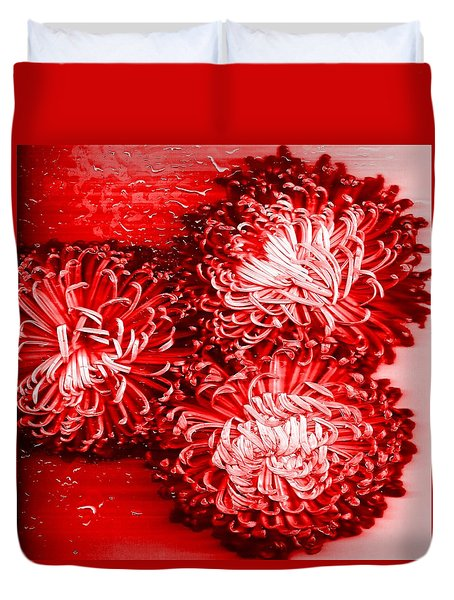 Duvet Cover featuring the painting Red Crysanthiam by Carolyn Repka