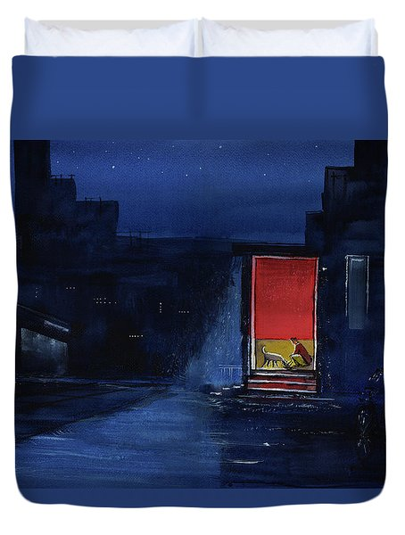 Duvet Cover featuring the painting Red Curtain by Anil Nene
