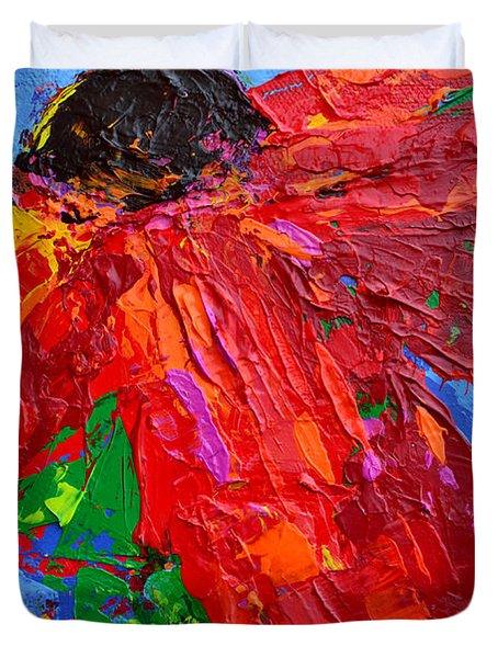 Red Daisy Duvet Cover