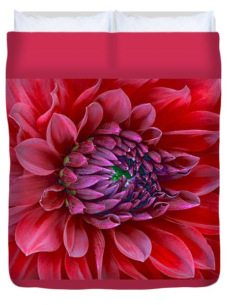 Red Dalia Up Close Duvet Cover
