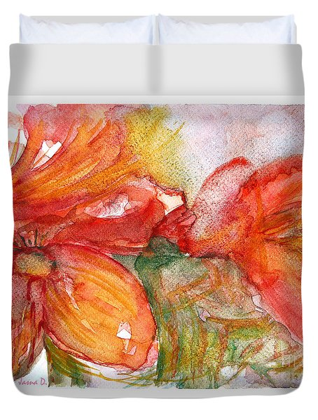 Red Dance Duvet Cover by Jasna Dragun