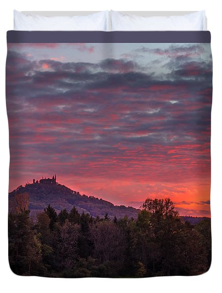 Duvet Cover featuring the photograph Red Dawn Over The Hohenzollern Castle by Dmytro Korol