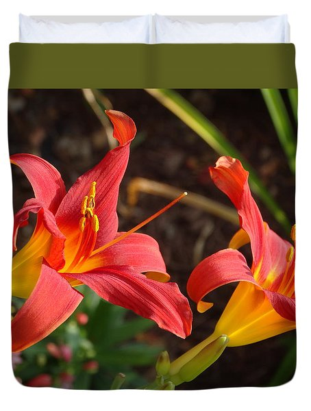 Red Daylilies Duvet Cover by Rebecca Overton