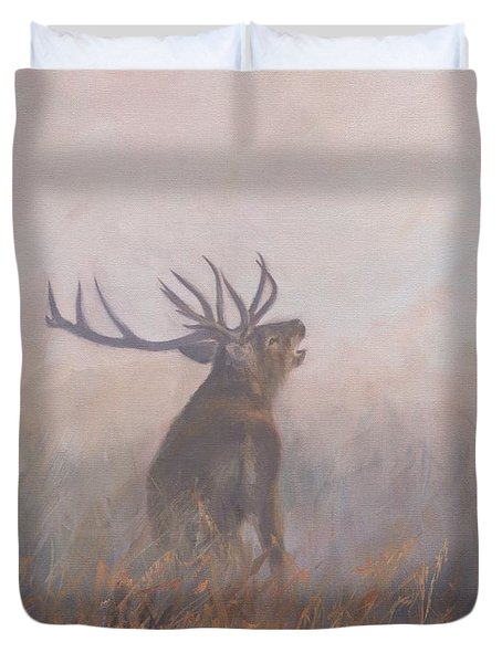 Duvet Cover featuring the painting Red Deer Stag Early Morning by David Stribbling