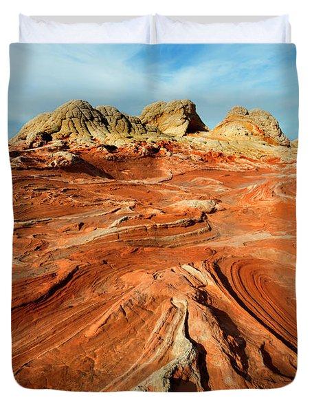 Red Desert Lines Duvet Cover