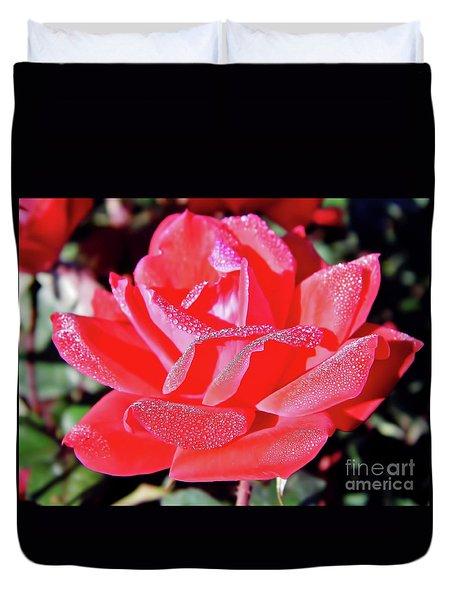 Red - Dew Covered  - Rose Duvet Cover
