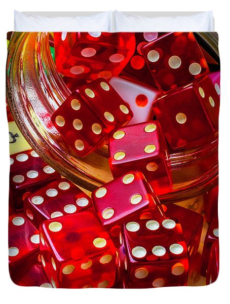 Red Dice Spilling Out Duvet Cover