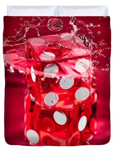 Red Dice Splash Duvet Cover by Steve Gadomski