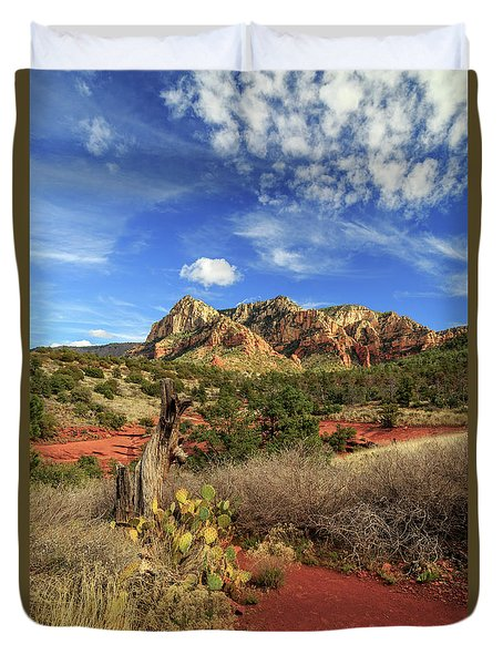 Red Dirt And Cactus In Sedona Duvet Cover by James Eddy