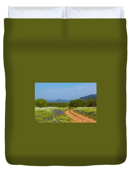 Red Dirt Road With Wild Flowers Duvet Cover
