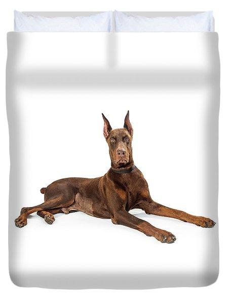 Red Doberman Pinscher Dog Lying Profile Duvet Cover