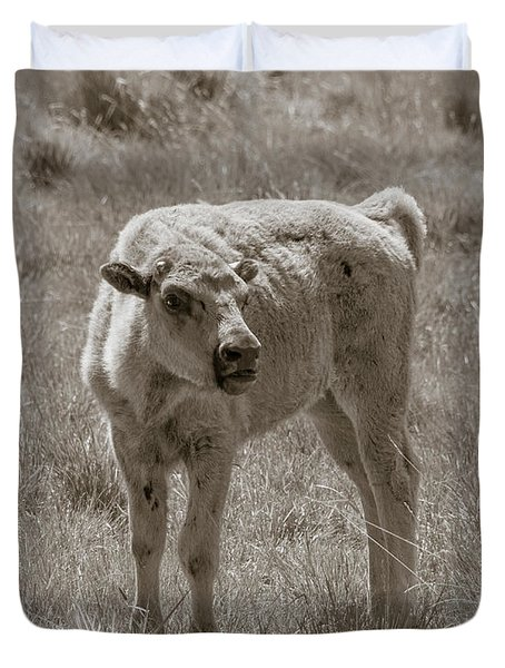 Duvet Cover featuring the photograph Red Dog Buffalo Calf by Rebecca Margraf
