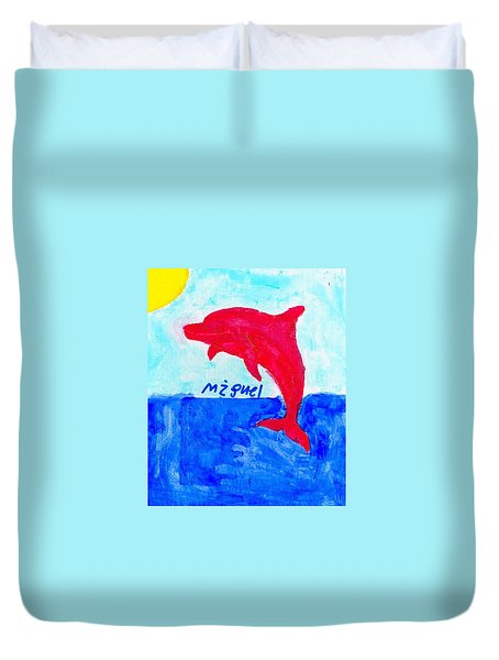 Red Dolphin Duvet Cover