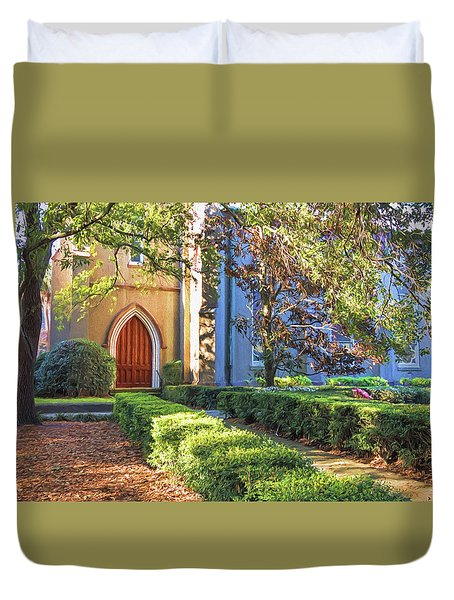Duvet Cover featuring the photograph Red Door Church by Kim Hojnacki