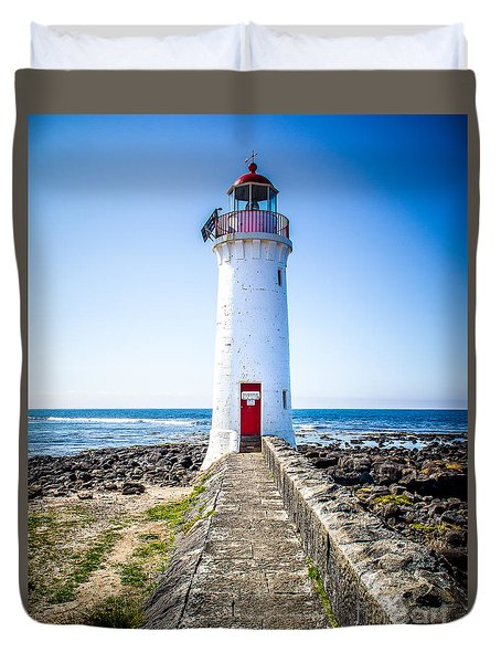 Red Door Lighthouse Duvet Cover