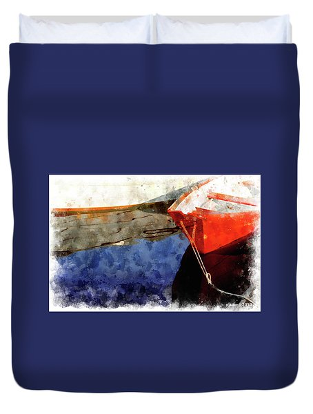 Red Dory Duvet Cover by Peter J Sucy