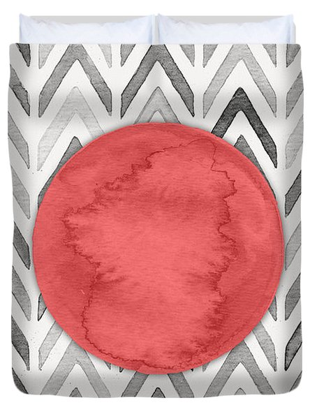Red Dot On Chevron Watercolor Pattern  Duvet Cover