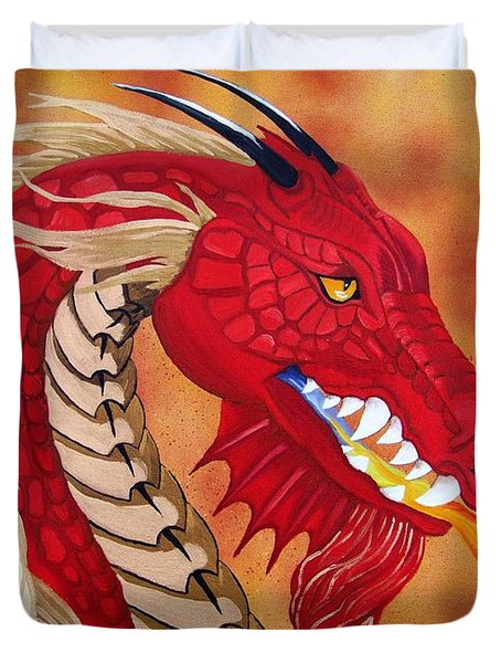 Red Dragon Duvet Cover by Debbie LaFrance
