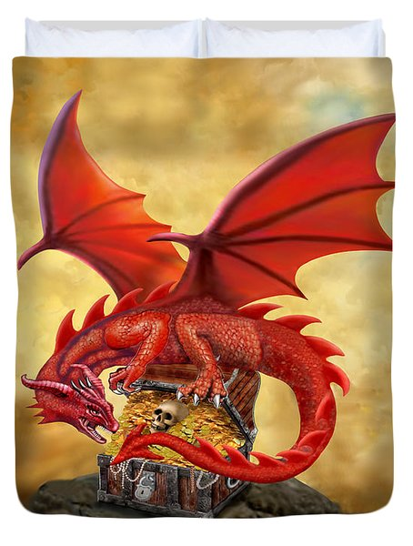 Red Dragon's Treasure Chest Duvet Cover