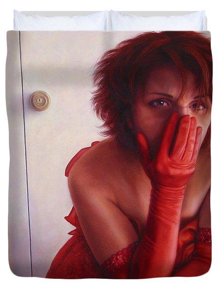 Red Dress Duvet Cover by James W Johnson