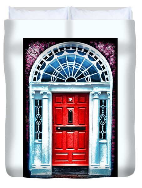Red Dublin Door Duvet Cover