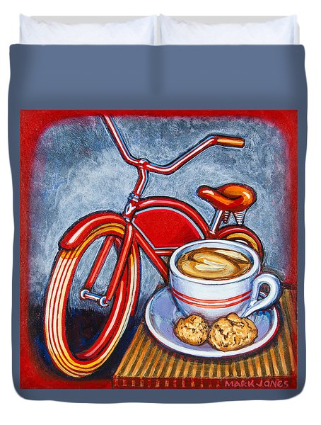 Red Electra Delivery Bicycle Cappuccino And Amaretti Duvet Cover