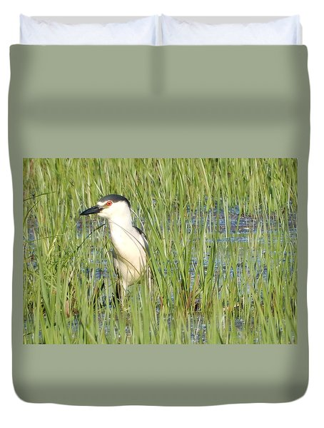 Duvet Cover featuring the photograph Red Eye by Betty-Anne McDonald