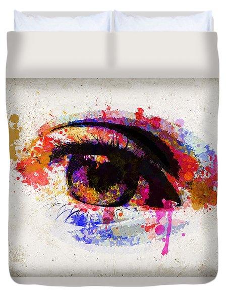 Red Eye Watercolor Duvet Cover