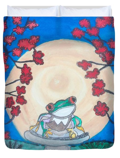 Red Eyed Frog Singing To The Moon Duvet Cover by Connie Valasco