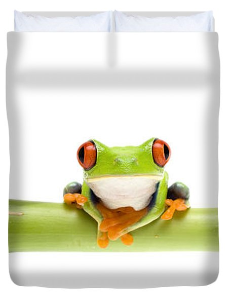Red-eyed Treefrogs Duvet Cover by Mark Bowler and Photo Researchers