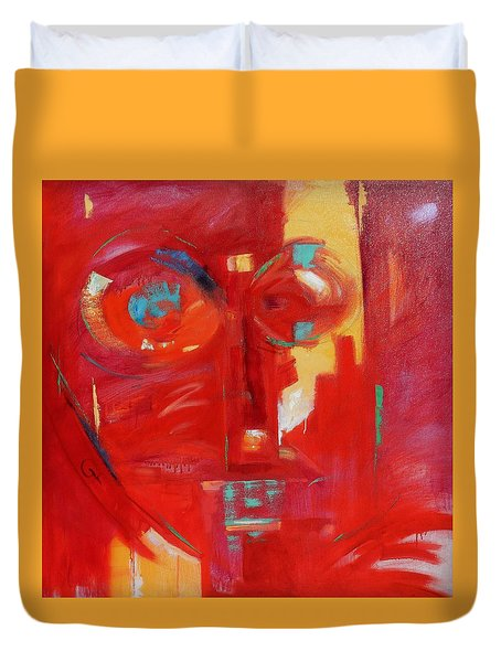 Duvet Cover featuring the painting Red Face by Gary Coleman