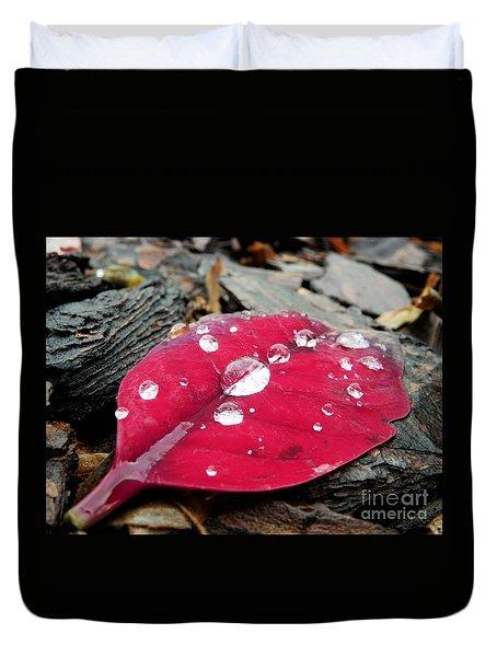 Red Fall Leaf Duvet Cover