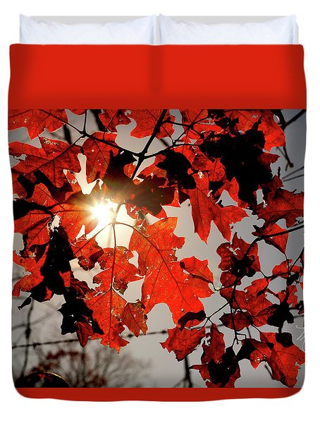 Duvet Cover featuring the photograph Red Fall Leaves by Meta Gatschenberger