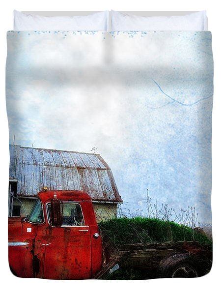 Red Farm Truck Duvet Cover by Bill Cannon
