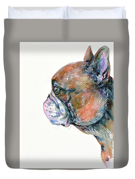 Duvet Cover featuring the painting Red Fawn Frenchie by Zaira Dzhaubaeva
