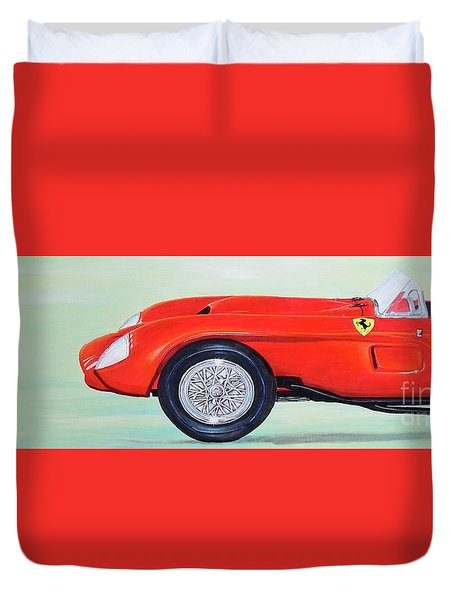 Duvet Cover featuring the painting Red Ferrari by Mary Scott