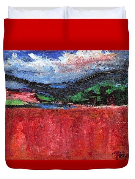 Red Field Landscape Duvet Cover