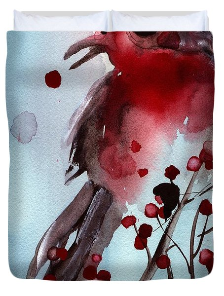 Red Finch In The Winterberry Duvet Cover