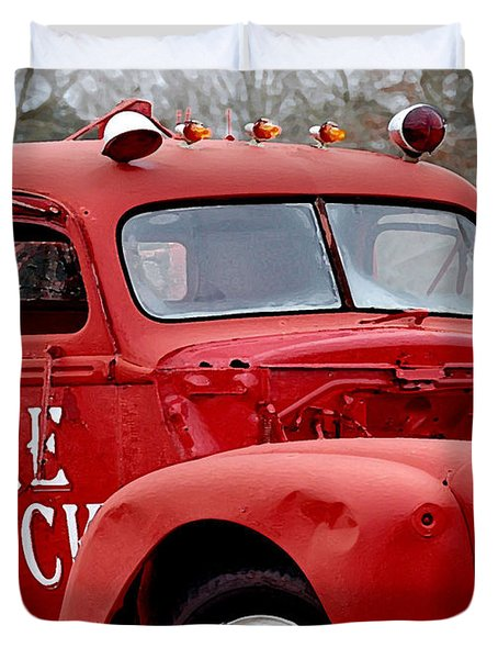 Red Fire Truck Duvet Cover by Michael Thomas