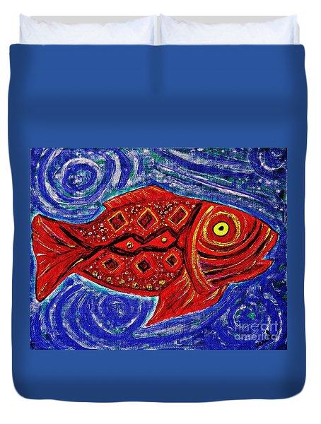 Red Fish Duvet Cover by Sarah Loft
