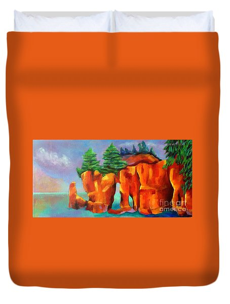 Duvet Cover featuring the painting Red Fjord by Elizabeth Fontaine-Barr