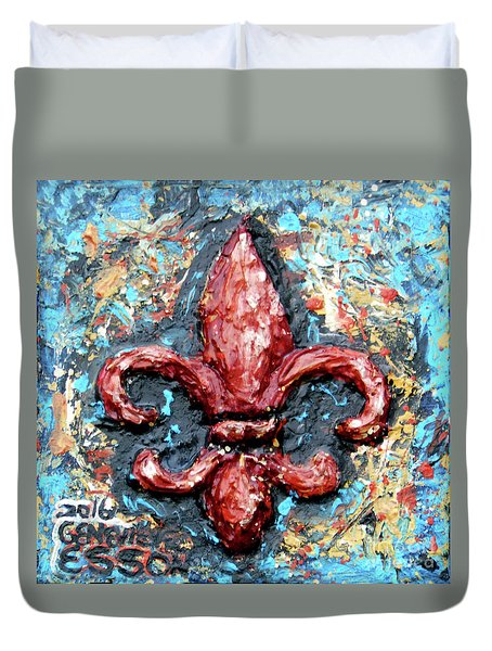 Duvet Cover featuring the painting Red Fleur De Lis by Genevieve Esson