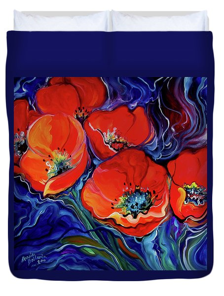 Red Floral Abstract Duvet Cover by Marcia Baldwin