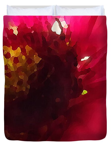 Red Flower Abstract Duvet Cover
