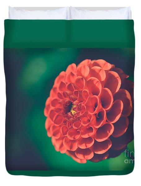 Red Flower Against Greenery Duvet Cover
